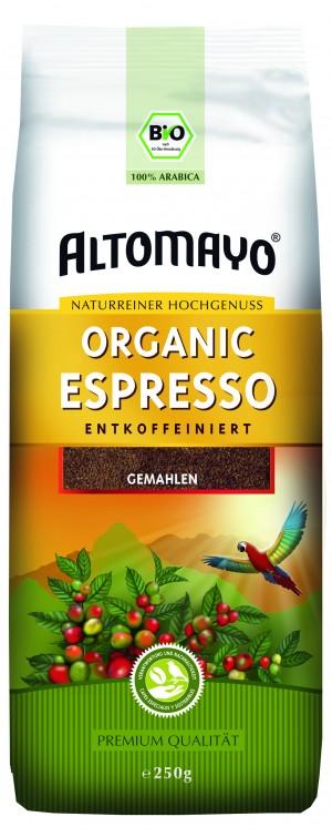 Espresso Altomayo gemahlen entkoffeiniert 250g